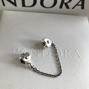 PANDORA Heart & Crown Safety Chain Charm